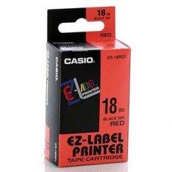 Casio oryginalna taśma do drukarek etykiet. Casio. XR-18RD1. czarny druk/czerwony podkład. nielaminowany. 8m. 18mm