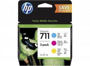 HP 711 CMY 3x29 ml. oryginalny wkład atramentowy / tusz do plotera Designjet T120/T520 czarny. trójpak cyan. magenta. yellow P2V32A