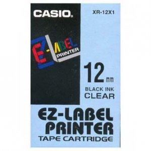 Casio oryginalna taśma do drukarek etykiet. Casio. XR-12X1. czarny druk/przezroczysty podkład. nielaminowany. 8m. 12mm XR-12X1