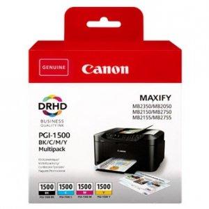 Canon oryginalny ink PGI-1500 BK/C/M/Y Multipack, CMYK, 400/3*300s, 9218B005, Canon MAXIFY MB2050,MB2150,MB2155,MB2350,MB2750,MB27 9218B005