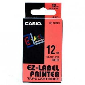 Casio oryginalna taśma do drukarek etykiet. Casio. XR-12RD1. czarny druk/czerwony podkład. nielaminowany. 8m. 12mm XR-12RD1