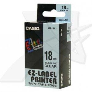 Casio oryginalna taśma do drukarek etykiet. Casio. XR-18X1. czarny druk/przezroczysty podkład. nielaminowany. 8m. 18mm XR-18X1