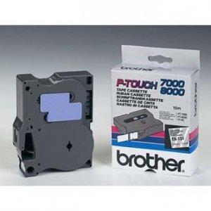 Brother oryginalna taśma do drukarek etykiet. Brother. TX-151. czarny druk/przezroczysty podkład. laminowane. 8m. 24mm TX151