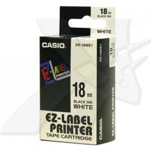 Casio oryginalna taśma do drukarek etykiet. Casio. XR-18WE1. czarny druk/biały podkład. nielaminowany. 8m. 18mm XR-18WE1