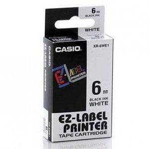 Casio oryginalna taśma do drukarek etykiet. Casio. XR-6WE1. czarny druk/biały podkład. nielaminowany. 8m. 6mm XR-6WE1