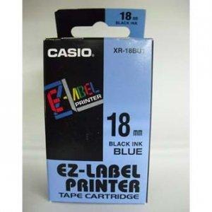 Casio oryginalna taśma do drukarek etykiet. Casio. XR-18BU1. czarny druk/niebieski podkład. nielaminowany. 8m. 18mm XR-18BU1