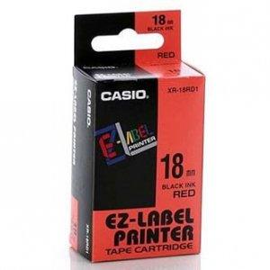 Casio oryginalna taśma do drukarek etykiet. Casio. XR-18RD1. czarny druk/czerwony podkład. nielaminowany. 8m. 18mm XR-18RD1