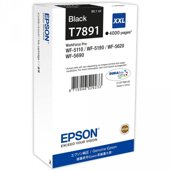 Epson oryginalny wkład atramentowy / tusz C13T789140. T789. XXL. black. 4000s. 65ml. 1szt. Epson WorkForce Pro WF-5620DWF. WF-5110DW. WF-5690DWF C13T789140