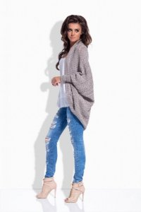 LS170 Melanżowy sweterek narzutka capucino
