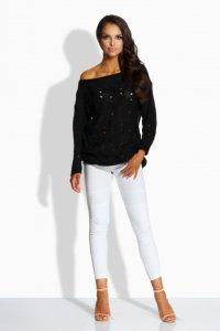 LS191 sweter z dziurkami czarny