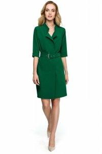 S120 Sukienka żakietowa z paskiem - zielona