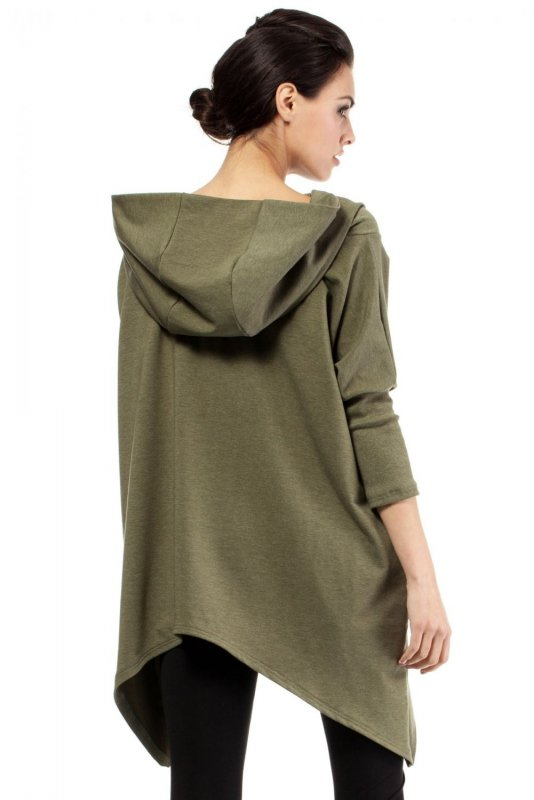 MOE207 Asymetryczna peleryna khaki