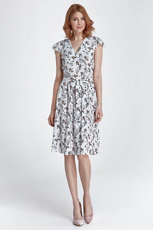 Sukienka - kwiaty/ecru - S86