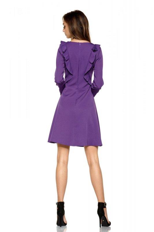 Klasyczna sukienka z długim rękawem L271 fiolet