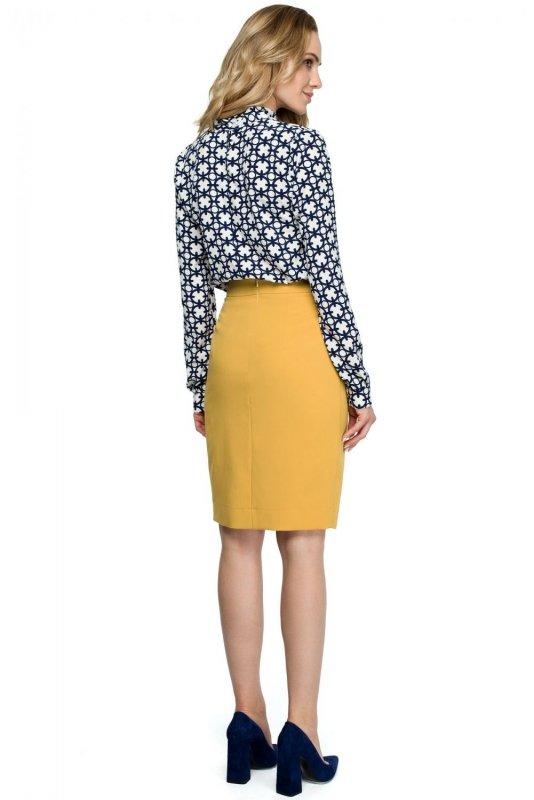 S127 Spódnica z zakładką na spodzie - żółta