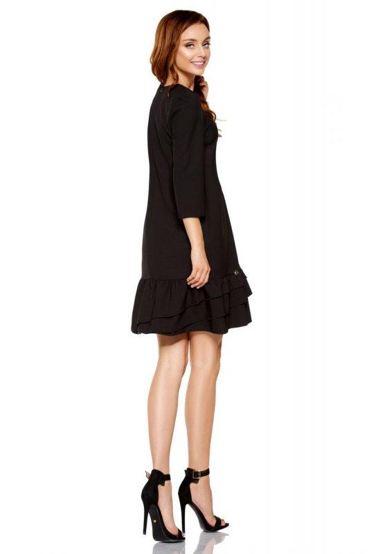 Klasyczna sukienka z falbanką L272 czarny