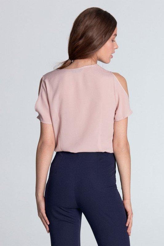 Bluzka z wycięciami na ramionach - róż - B99