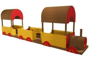Lokomotywa z wagonami na plac zabaw