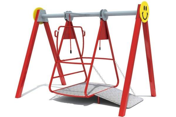 Huśtawka drewniana bocianie gniazdo, huśtawka na plac zabaw, huśtawka z platformą, huśtawka dla inwalidy, huśtawka z wjazdem