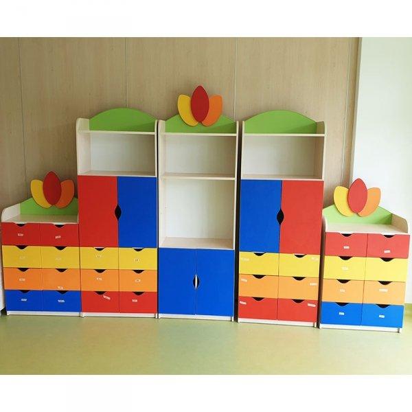 zestaw mebli przedszkolnych,szafki przedszkolne,szafki do przedszkola,regał do przedszkola