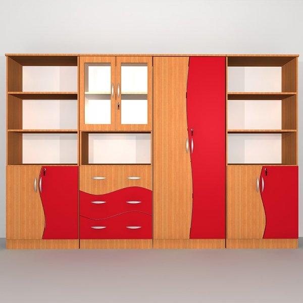 Zestaw szafek szkolnych Nr 1, zestaw szafek szkolnych fala, zestaw szafek do szkoły, zestaw mebli szkolnych