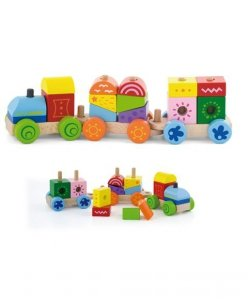 Viga 50534 Drewniany pociąg z klockami