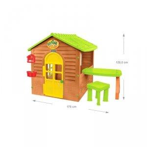 MOCHTOYS Domek Ogrodowy ze Stolikiem i Krzesełkiem Otwierane Okna  Drzwi Karmnik Doniczka