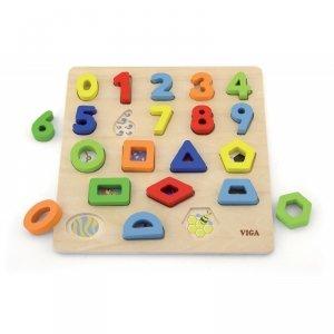 Sorter Kształtów Cyferki + Figury Geometryczne Drewniane Viga Toys