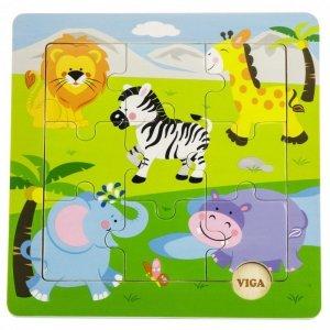 VIGA Poręczne Drewniane Puzzle Dzikie Zwierzęta Safari ZOO 9 elementów