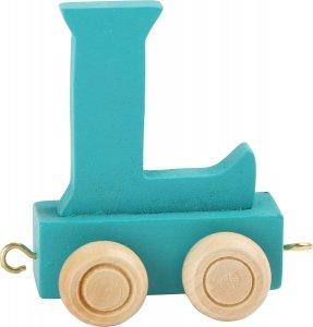 Dekoracja SMALL FOOT wagon do lokomotywy z literą L (kolor niebieski)