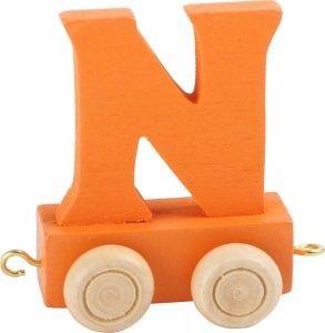 Dekoracja SMALL FOOT wagon do lokomotywy z literą N (kolor pomarańczowy)