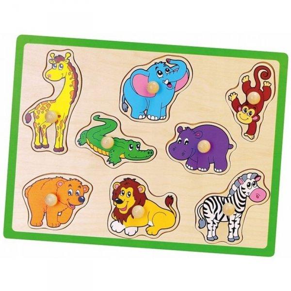 Drewniane Puzzle Zwierzęta ZOO Układanka Viga Toys