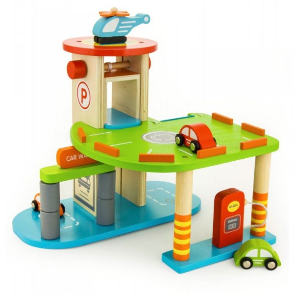 Drewniany 2 Poziomowy Garaż Parking 3 Auta Helikopter Winda Viga Toys