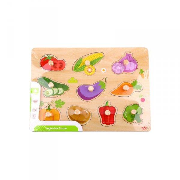 TOOKY TOY Puzzle Drewniane Układanka Z Pinezkami Warzywa