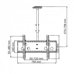 UCHWYT PODWIESZANY DO MONITORA PLASMA/LCD AR-21 30-50'' do 60KG