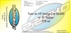 Tusz zamiennik Yvesso nr 91 do HP Designjet Z6100 775 ml Yellow C9469A