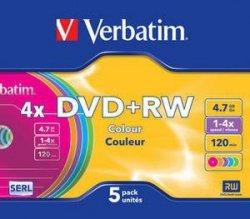 Verbatim DVD+RW 4x 4.7GB 5P Color