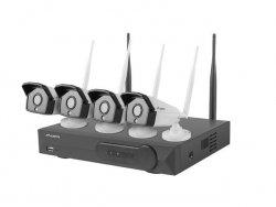 LANBERG Zestaw do monitoringu Rejestrator NVR 4 kanałowy WiFi + 4 kamery IP WiFi 2Mpx z akcesoriami