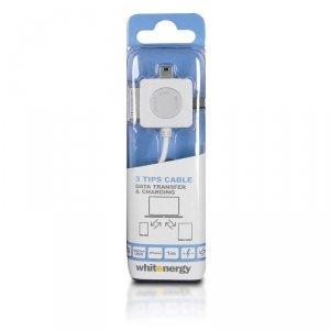 Whitenergy Kabel USB 2.0 AM BmicUSB iphone4/5 100cm biały