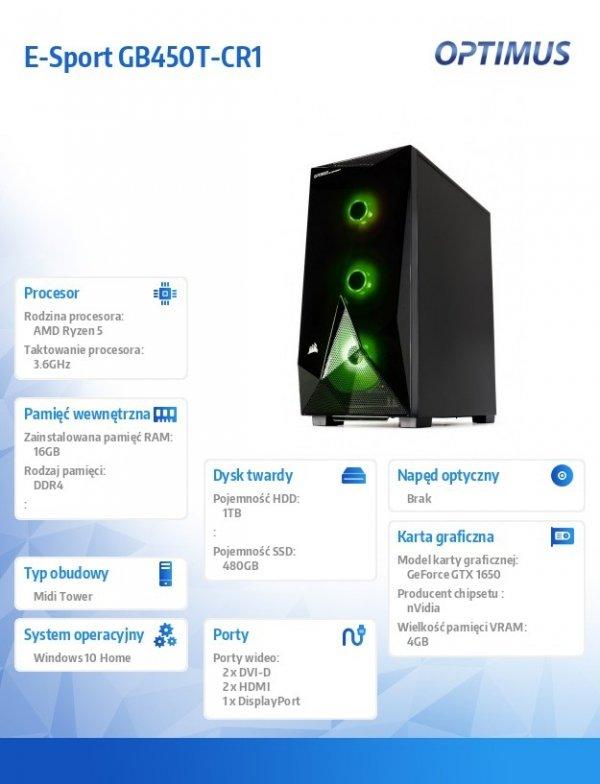 OPTIMUS Komputer E-Sport GB450T-CR1 RYZEN 5 3600/16GB/1TB+480GB/GTX1650 4GB/WIN10