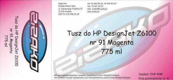 Tusz zamiennik Yvesso nr 91 do HP Designjet Z6100 775 ml Magenta C9468A