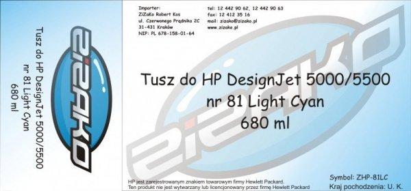 Tusz zamiennik Yvesso nr 81 do HP Designjet 5000/5500 680 ml Light Cyan C4934A