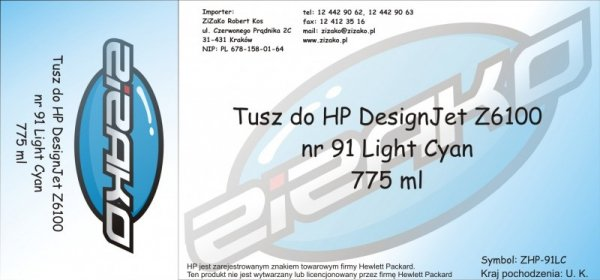 Tusz zamiennik Yvesso nr 91 do HP Designjet Z6100 775 ml Light Cyan C9470A