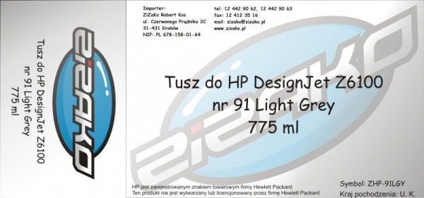 Tusz zamiennik Yvesso nr 91 do HP Designjet Z6100 775 ml Light Grey C9466A