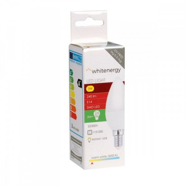 Whitenergy Żarówka LED C37 E14 3W 240lm ciepła biała mleczna