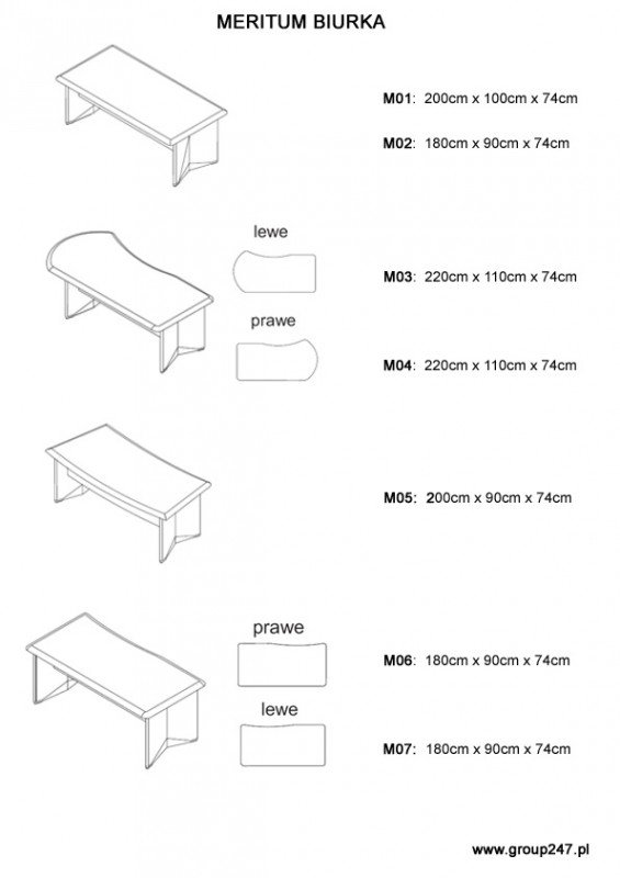 Biurka Meritum - wymiary