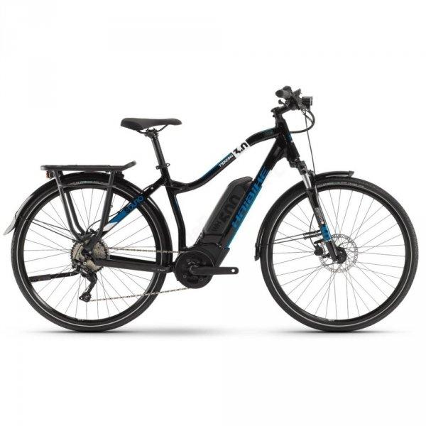 """Rower elektryczny Haibike SDURO Trekking 3.0 Low-Step 28"""" czarno-niebiesko-biały"""