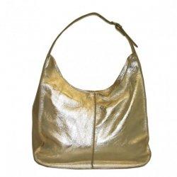 Borsa in Pelle Shopper Margherita metaliczny złoty