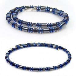 Naszyjnik  męski –  hematyt  i srebro dłu.46 cm.
