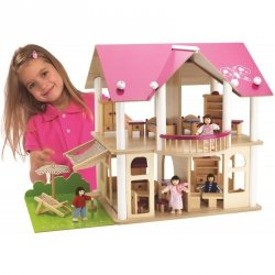 Domek drewniany dla lalek piętrowy willa 27 elem.